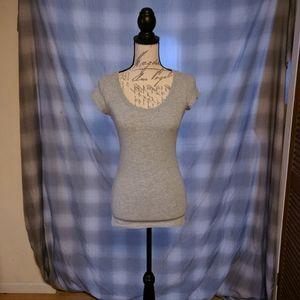 Ladies Grey Scoop neck Short Sleeve top